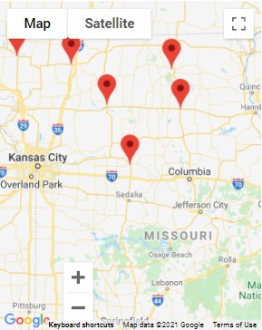 A map of the Hearing Care Partners' locations